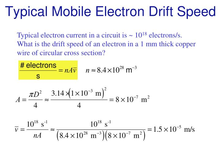 Typical Mobile Electron Drift Speed