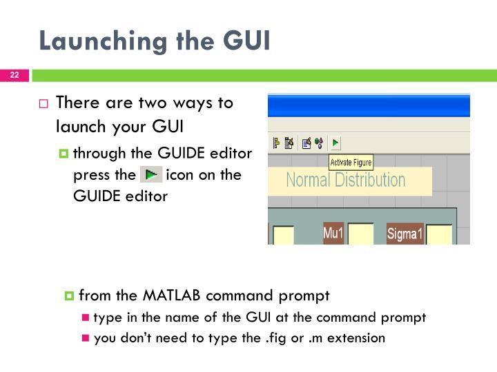 Launching the GUI
