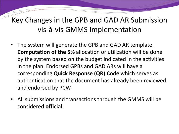 Key Changes in the GPB and GAD AR
