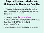 as principais atividades nas unidades de sa de da familia