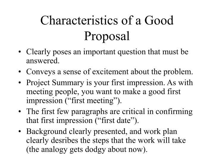 qualities of a good proposal