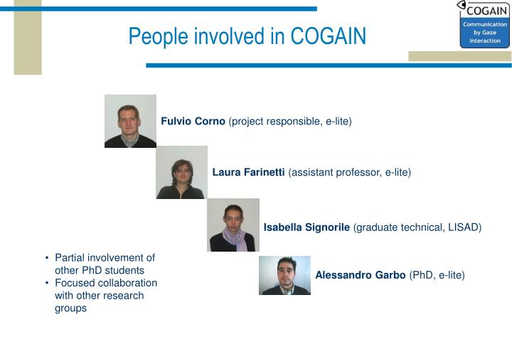 People involved in COGAIN