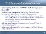 who response operations summary