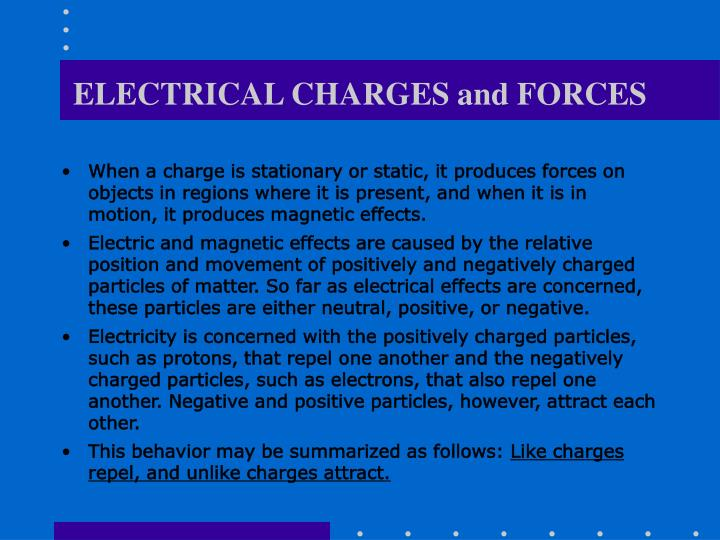 ELECTRICAL CHARGES and FORCES