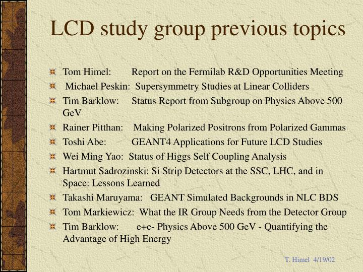 Lcd study group previous topics