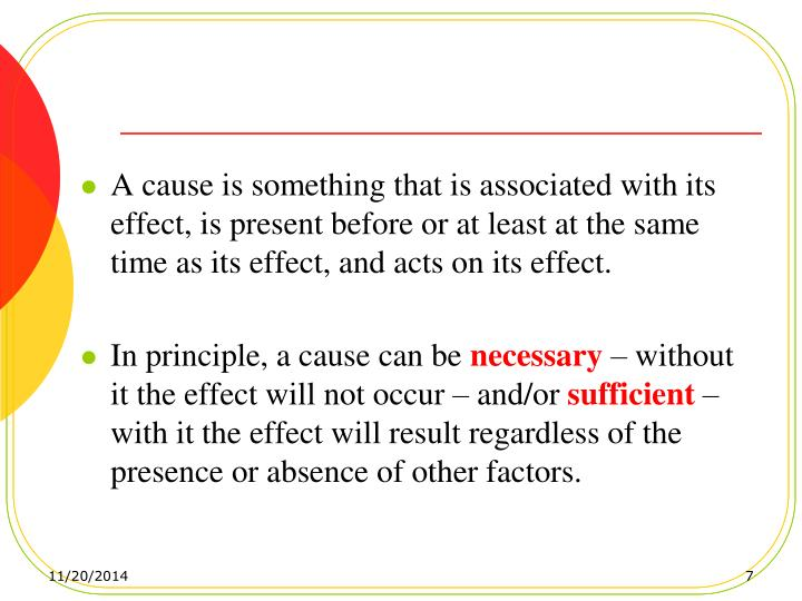 A cause is something that is associated with its effect, is present before or at least at the same time as its effect, and acts on its effect.