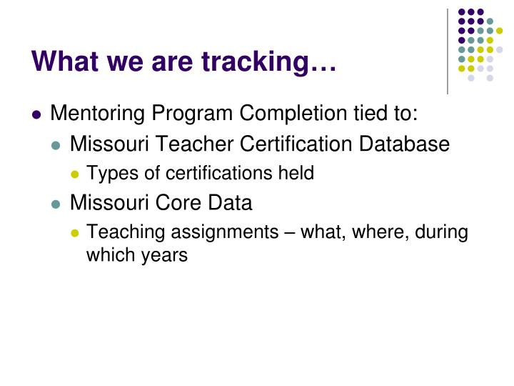 What we are tracking…