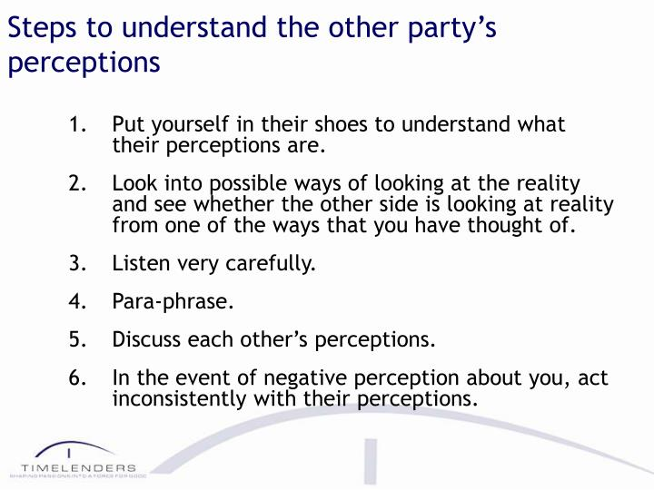 Steps to understand the other party's perceptions