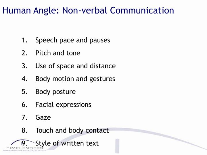 Human Angle: Non-verbal Communication