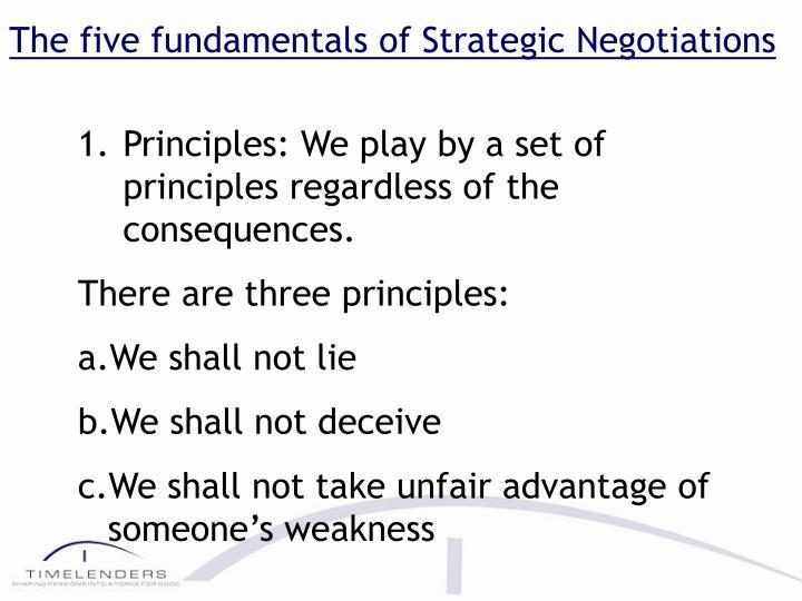 The five fundamentals of Strategic Negotiations