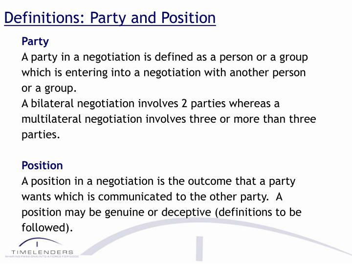 Definitions: Party and Position