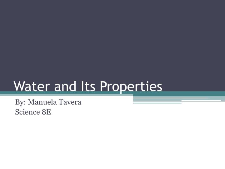 water and its properties n.