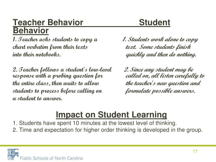Teacher Behavior                        Student Behavior