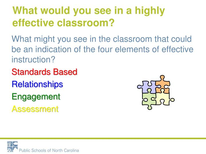 What would you see in a highly effective classroom?