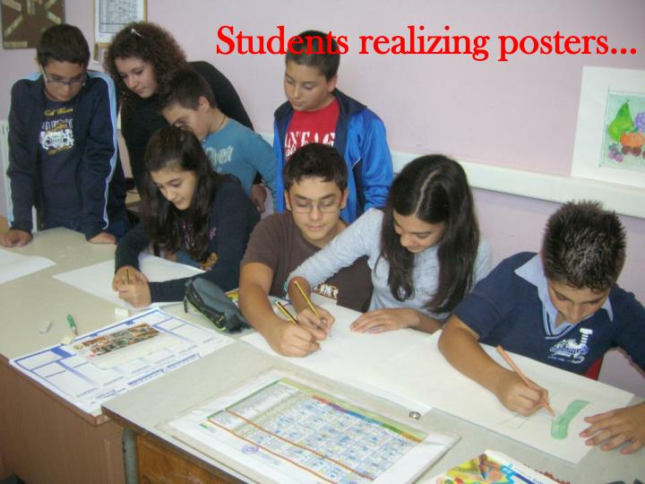 Students realizing posters…