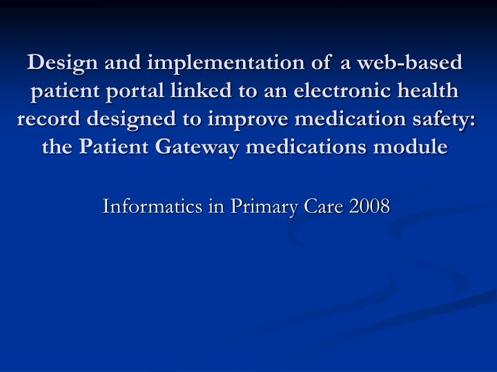 informatics in primary care 2008 n.