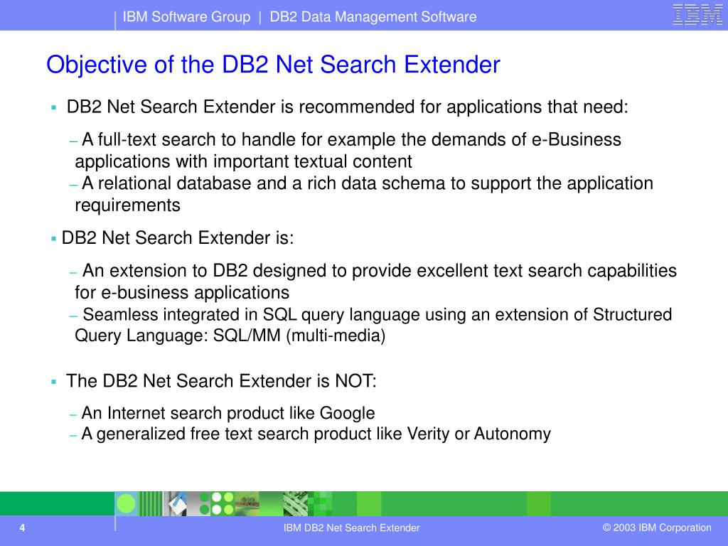 PPT - DB2 Net Search Extender IBM DB2 Data Management March 2003