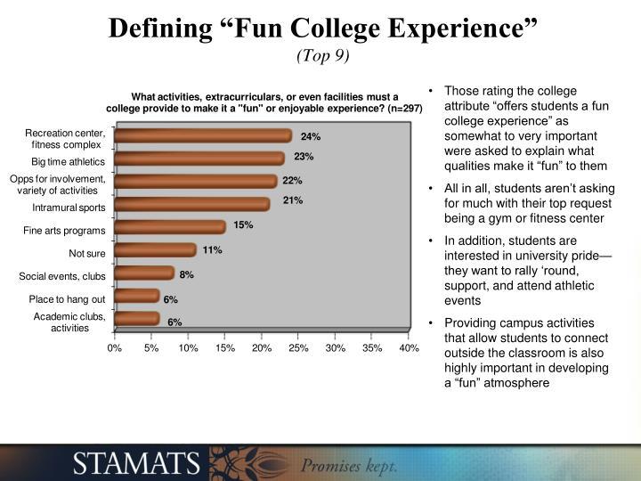 "Defining ""Fun College Experience"""