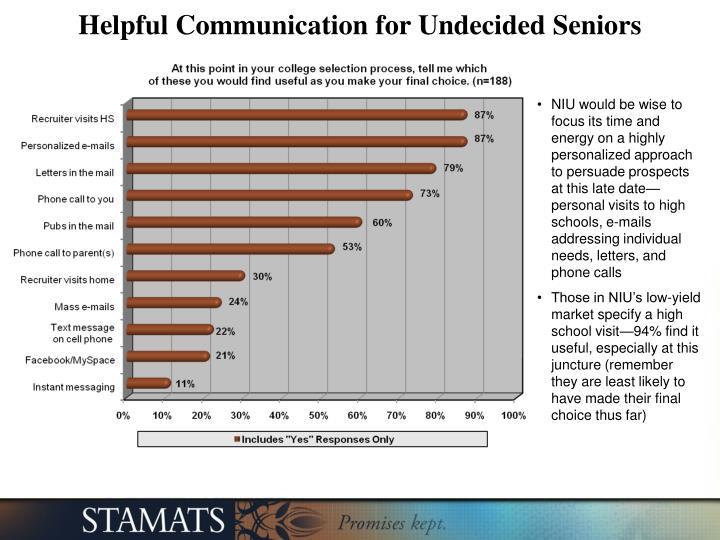 Helpful Communication for Undecided Seniors