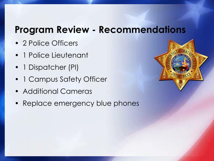 Program Review - Recommendations