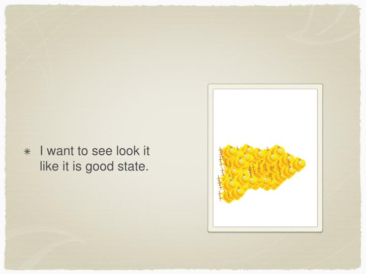 I want to see look it like it is good state.