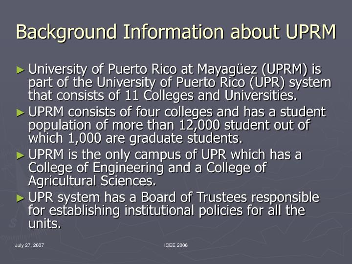 Background Information about UPRM