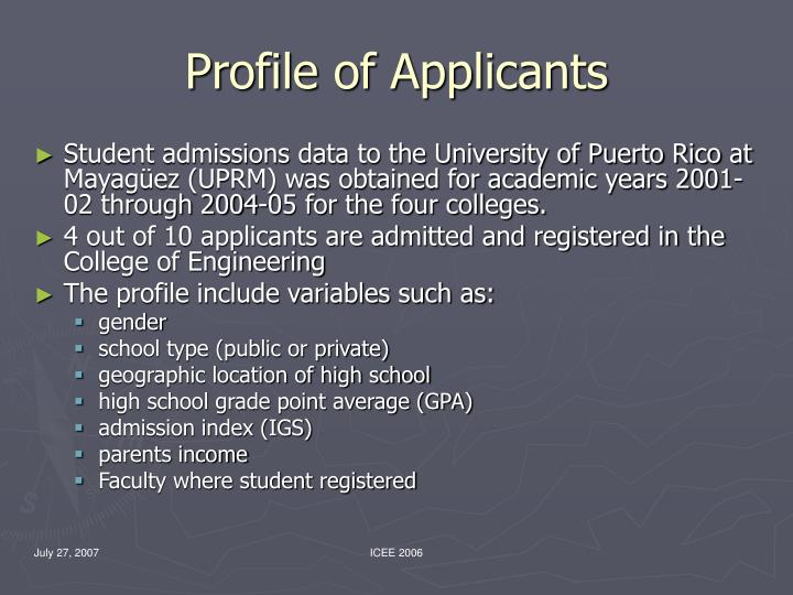 Profile of Applicants