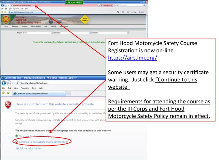 PPT - Fort Hood Motorcycle Safety Course Registration is now