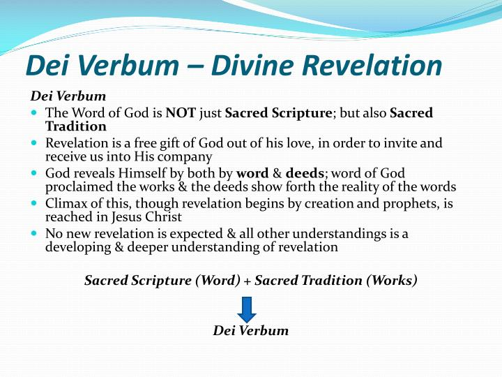 chapter ii handing on divine revelation essay —chapter 2 on revelation the holy ecumenical vatican council should be opened  develops the science of divine things on the other hand.