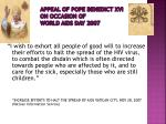 appeal of pope benedict xvi on occasion of world aids day 2007