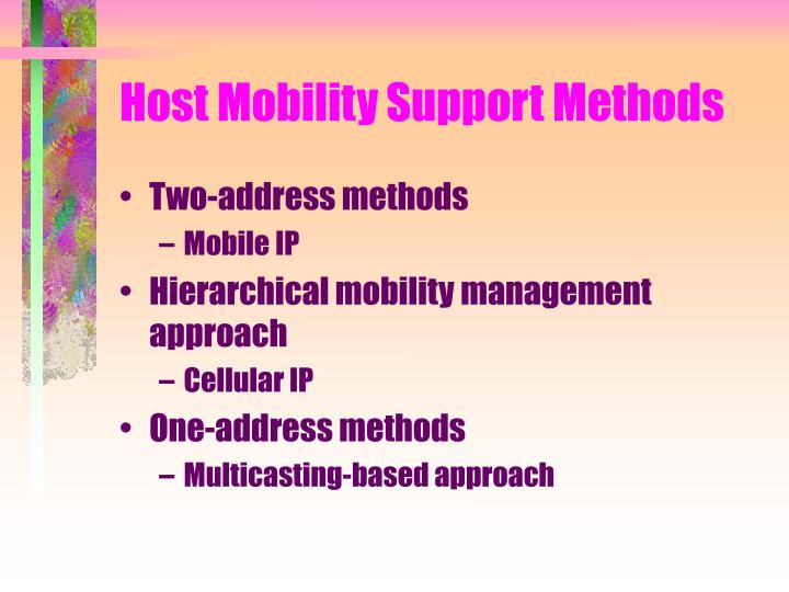 Host Mobility Support Methods