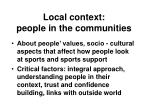 local context people in the communities