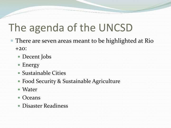 The agenda of the UNCSD