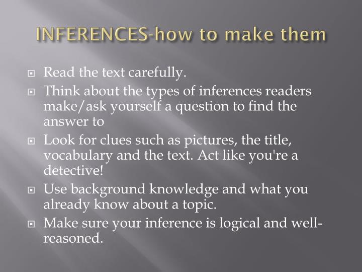 INFERENCES-how to make them