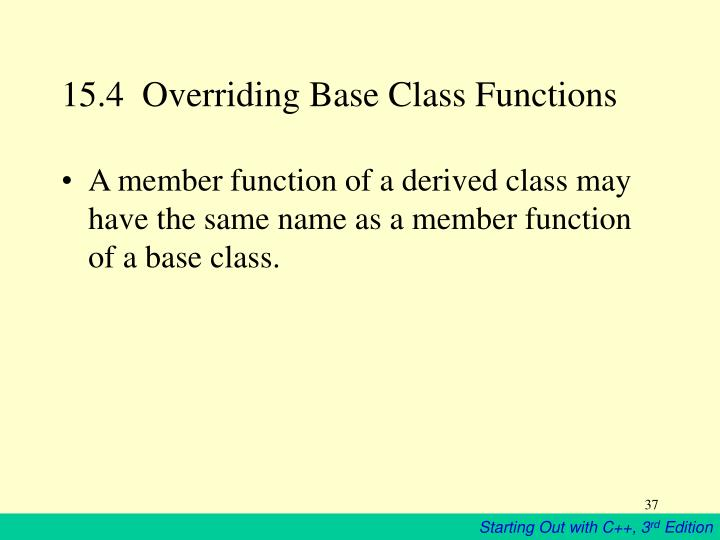 15.4  Overriding Base Class Functions