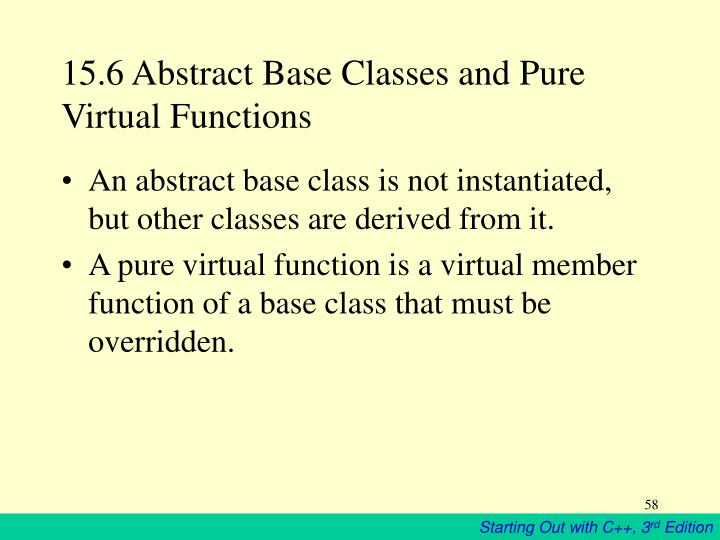 15.6 Abstract Base Classes and Pure Virtual Functions