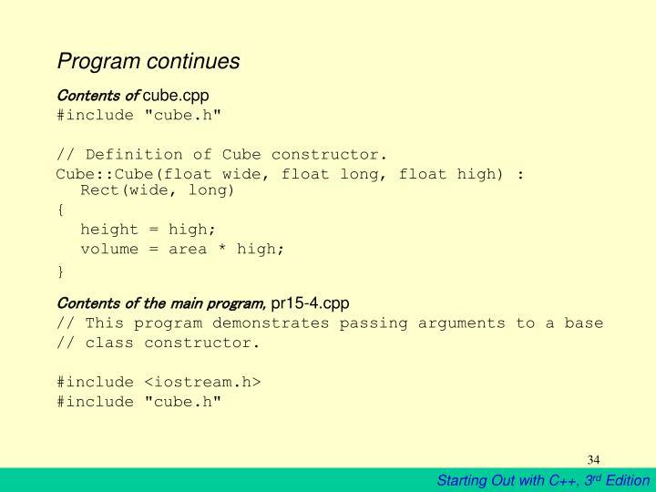 Program continues