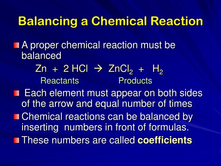 Balancing a Chemical Reaction