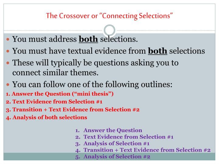 """The Crossover or """"Connecting Selections"""""""