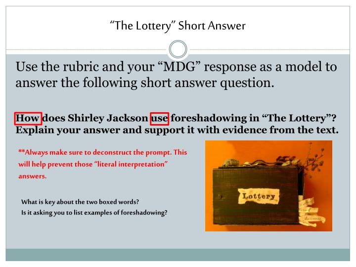"""""""The Lottery"""" Short Answer"""