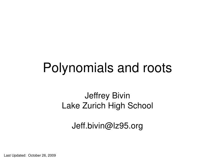 polynomials and roots n.