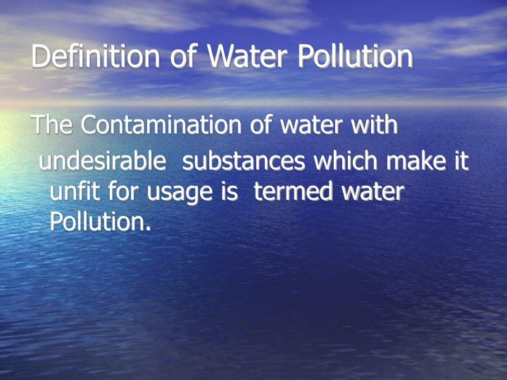 Definition of Water Pollution