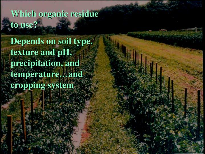 Which organic residue to use?