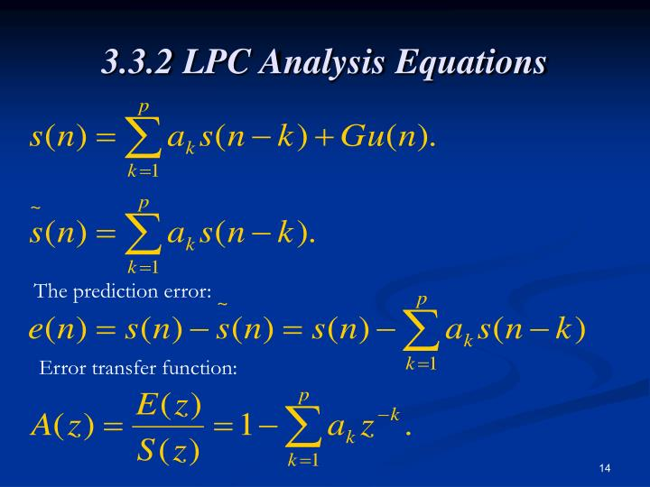3.3.2 LPC Analysis Equations