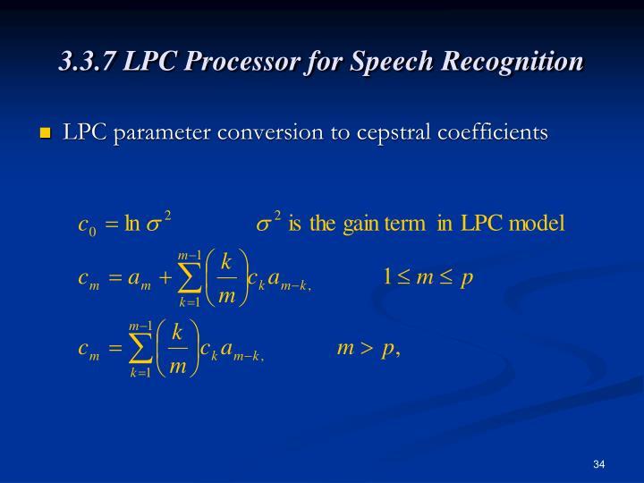 3.3.7 LPC Processor for Speech Recognition