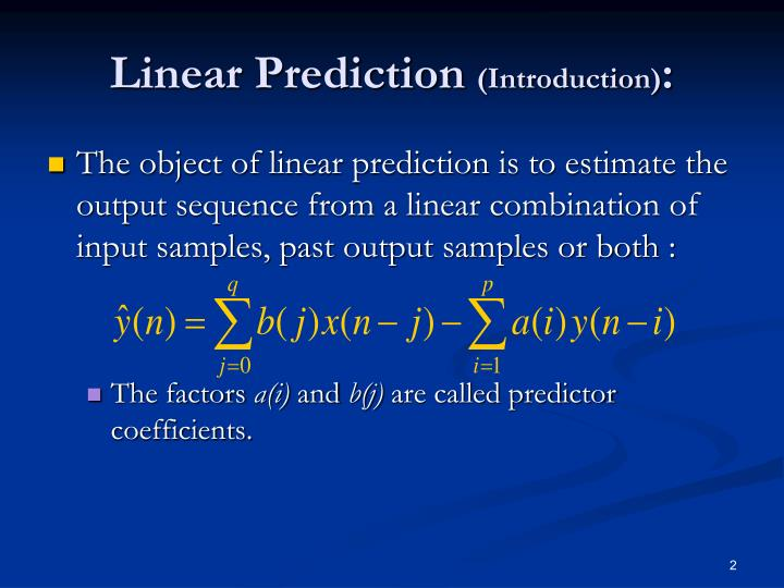 Linear prediction introduction