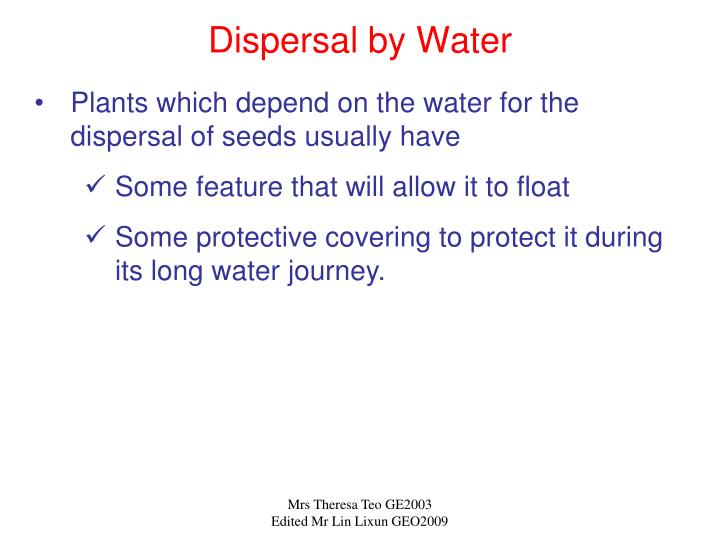 Dispersal by Water