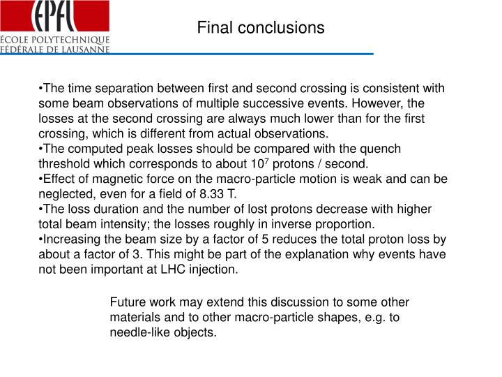 Final conclusions