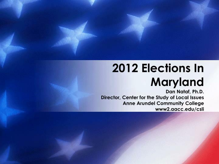 2012 elections in maryland n.