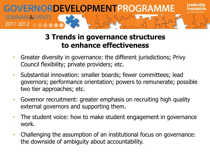 3 Trends in governance structures
